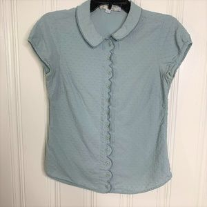 Boden Blue Button Textured Top Size 4